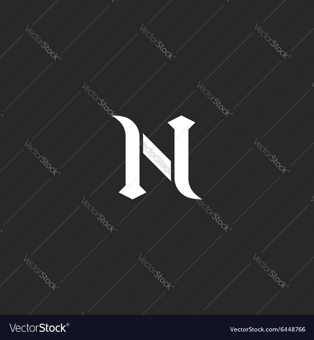 N logo letter mockup medieval design element black