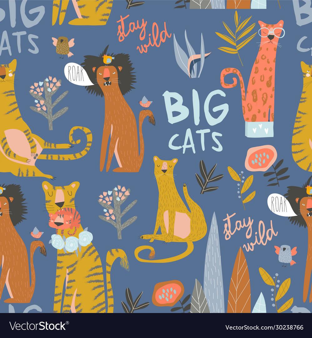 Seamless pattern cartoon wild cats liontiger