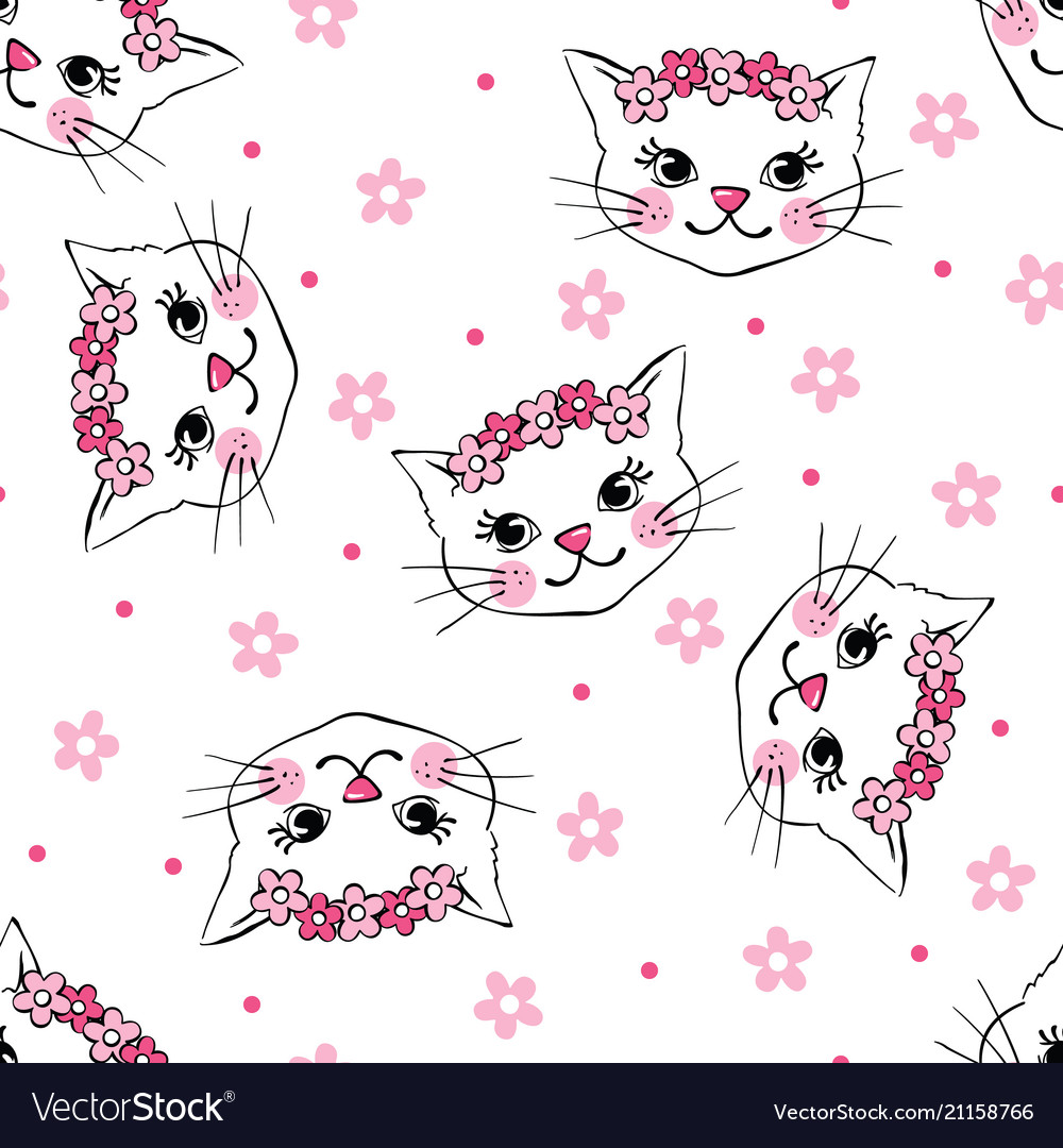 Seamless pattern with cute cats isolated on white