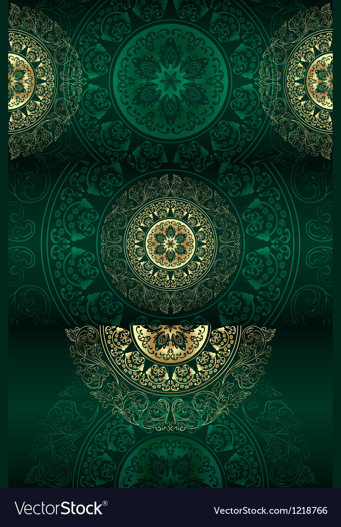 Set of green vintage floral backgrounds vector image