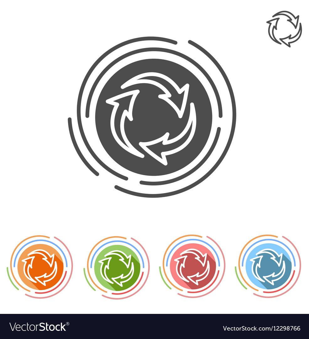 Three arrows in a circle process icon