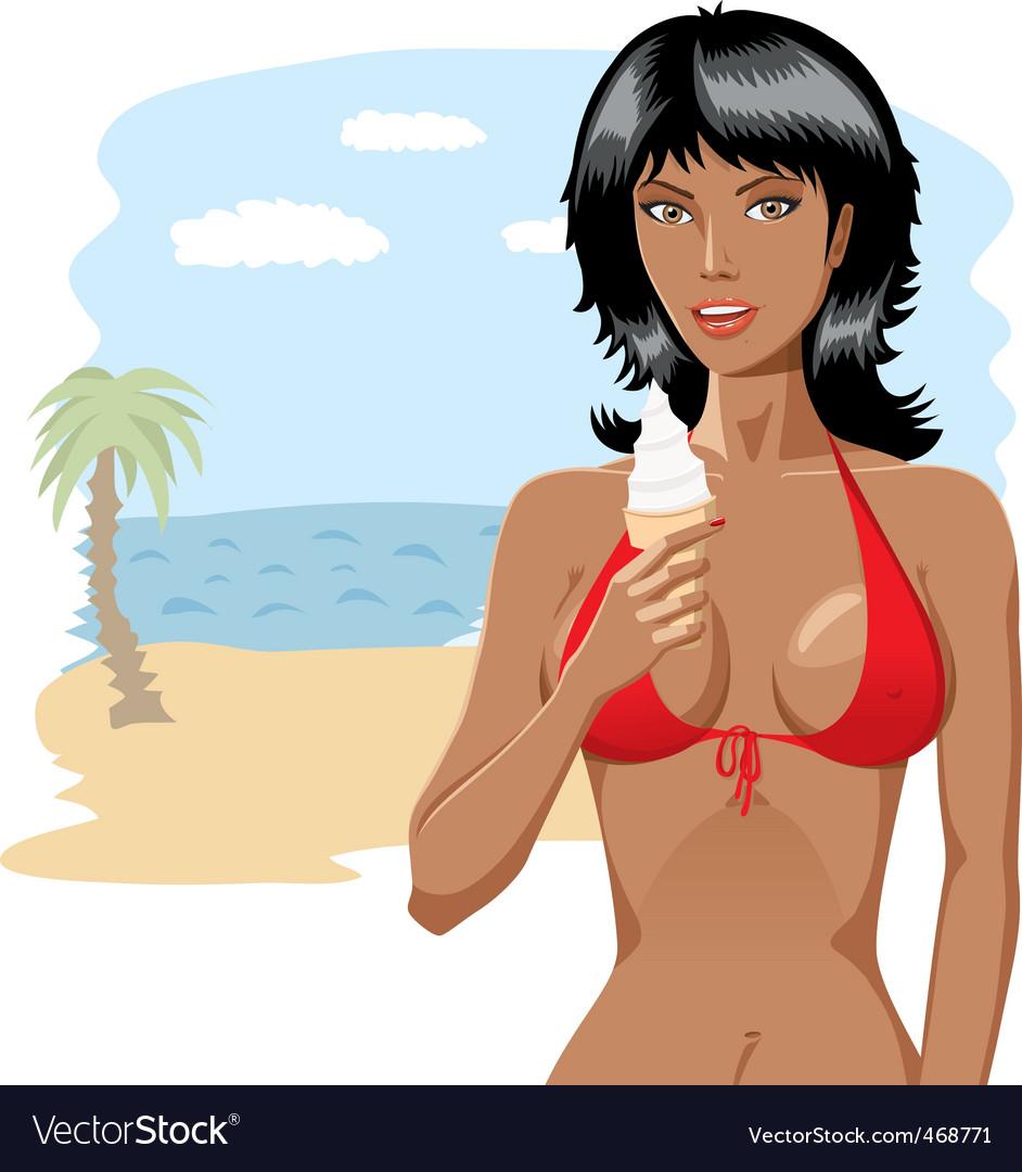 Bikini girl with ice-cream 01