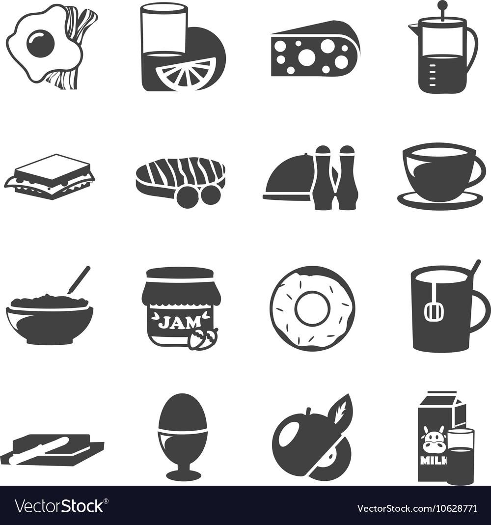 Breakfast Black White Icons