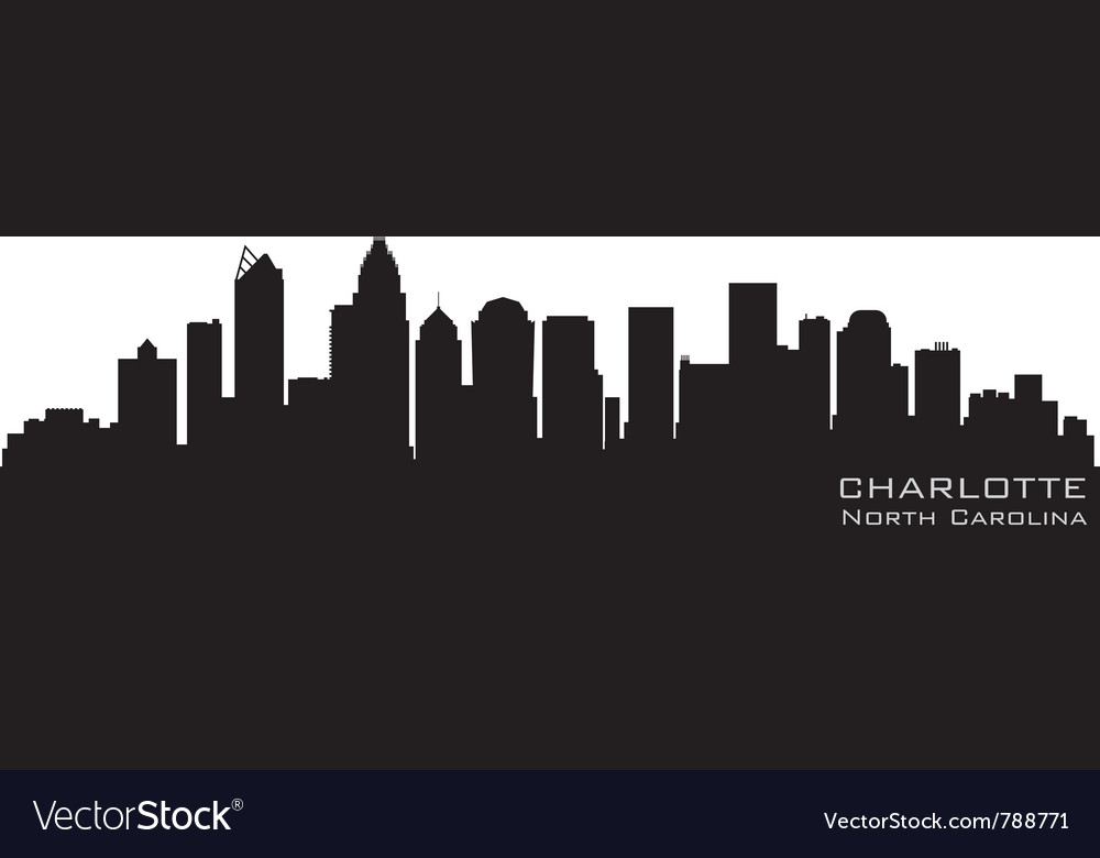 Charlotte north carolina skyline detailed silhouet vector image