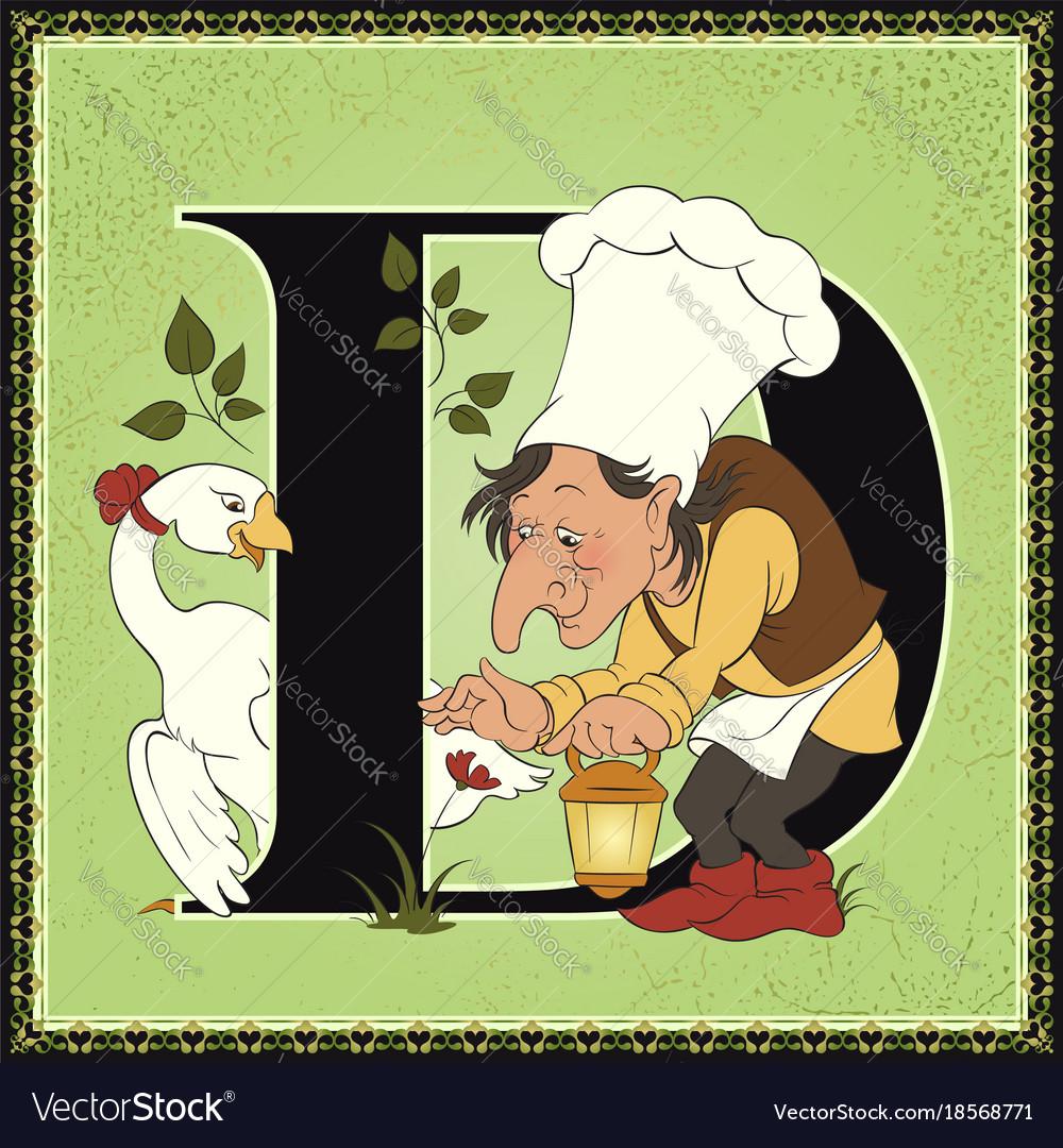 Children book cartoon fairytale alphabet letter d