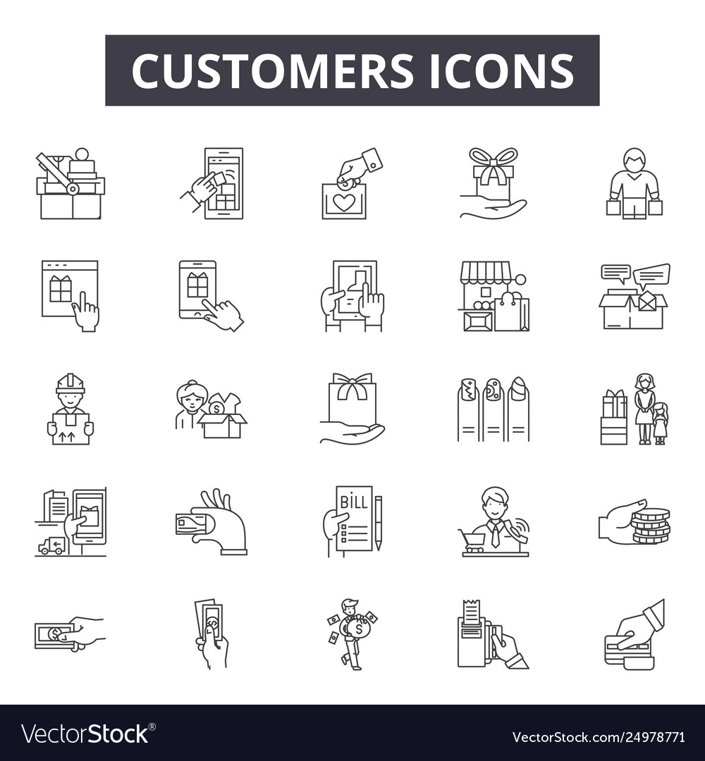 Customers line icons signs set outline