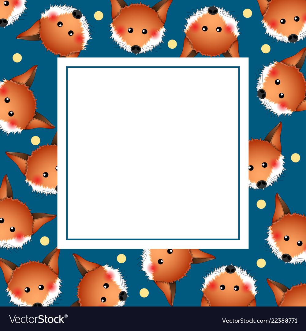 Cute red fox on indigo blue banner card