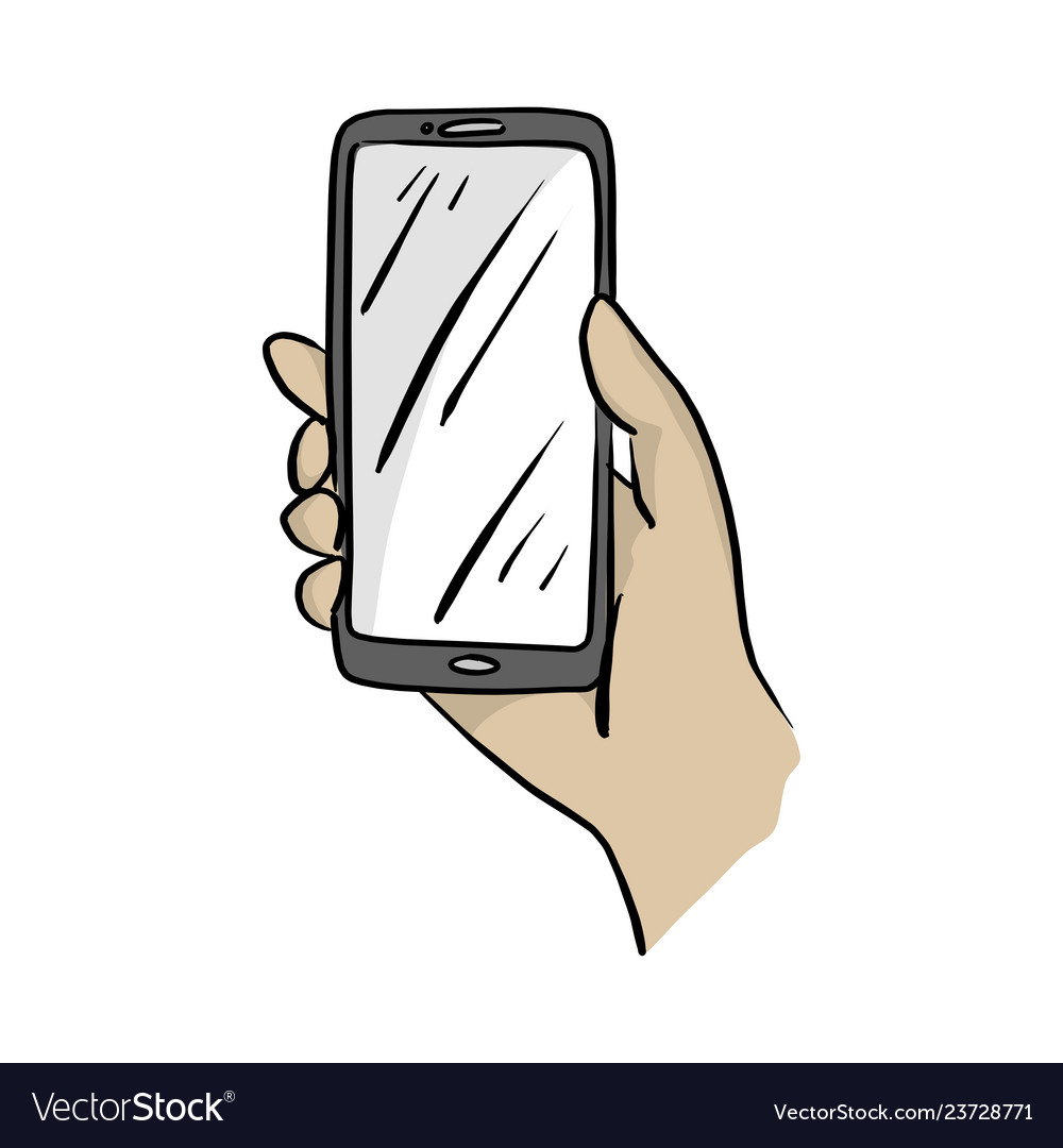 Hand holding mobile phone sketch