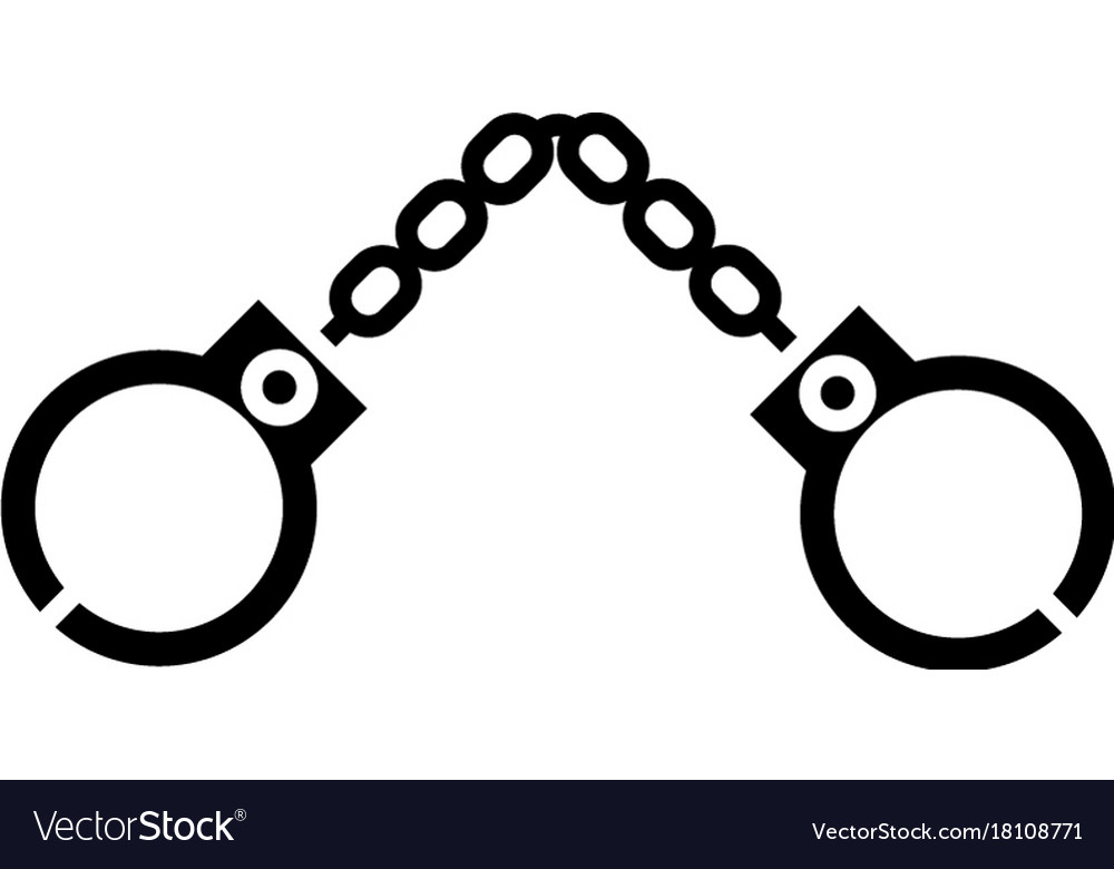 Handcuffs icon black sign on vector image