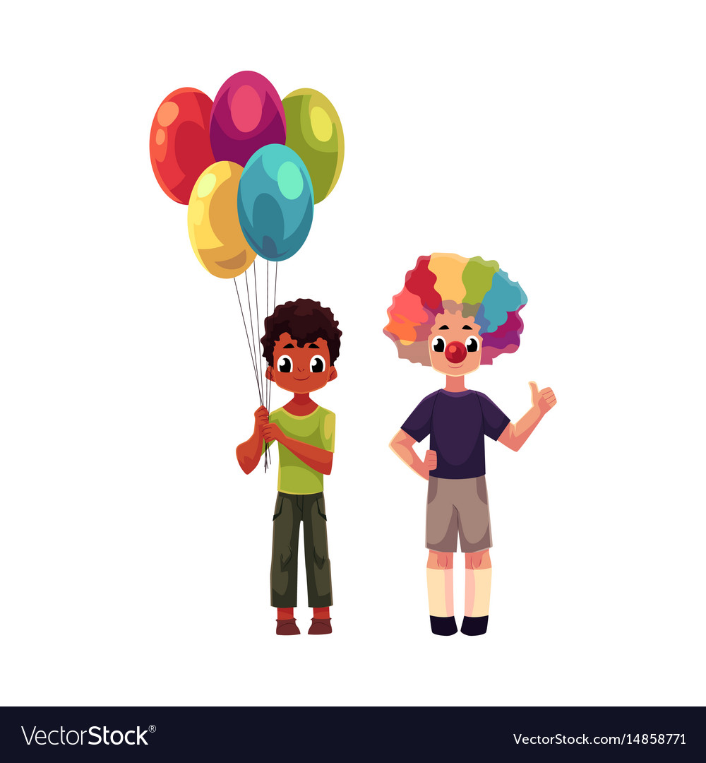 Kids at birthday party holding balloons wearing vector image