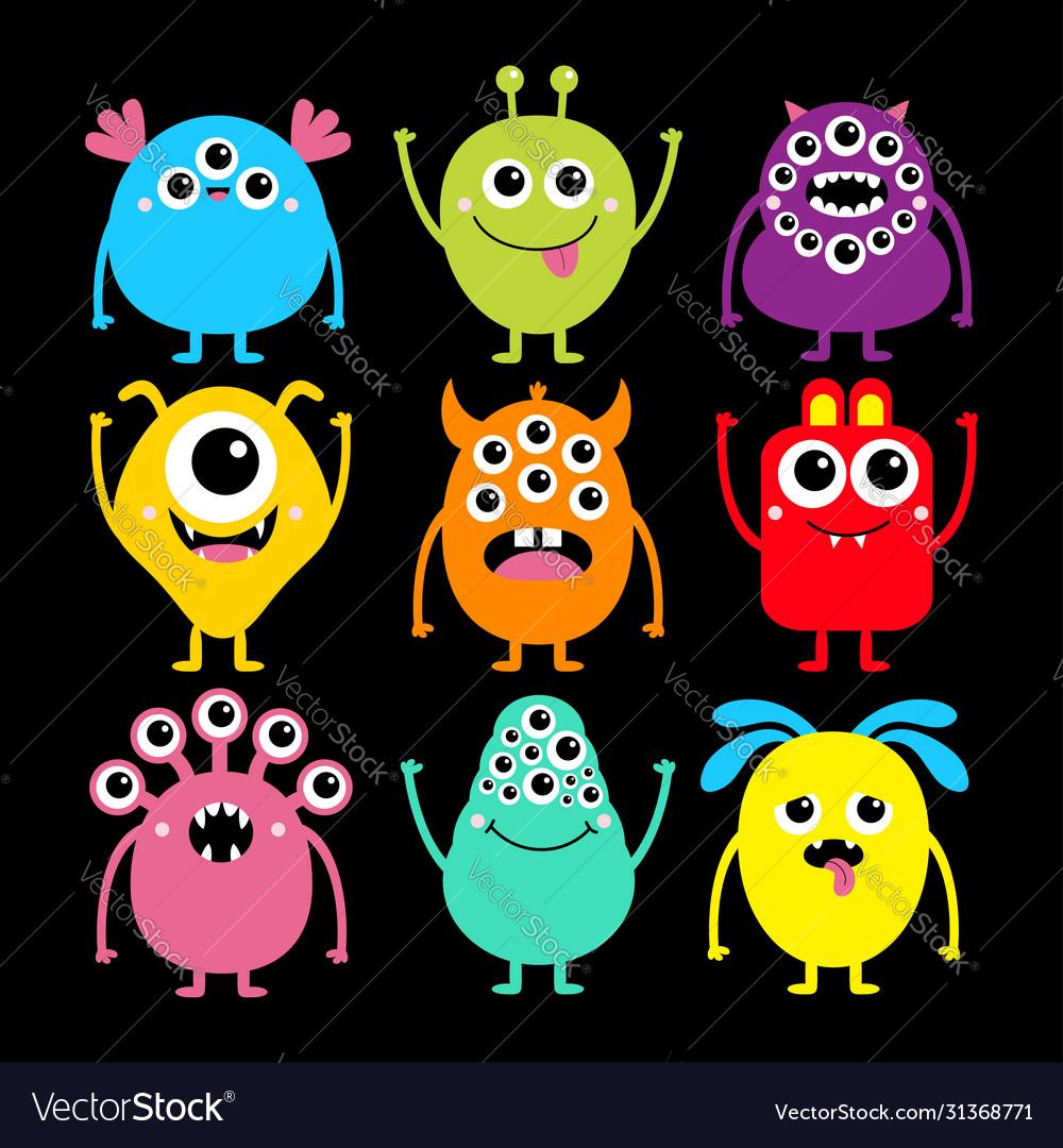 Monster Set Happy Halloween Cute Kawaii Cartoon Vector Image