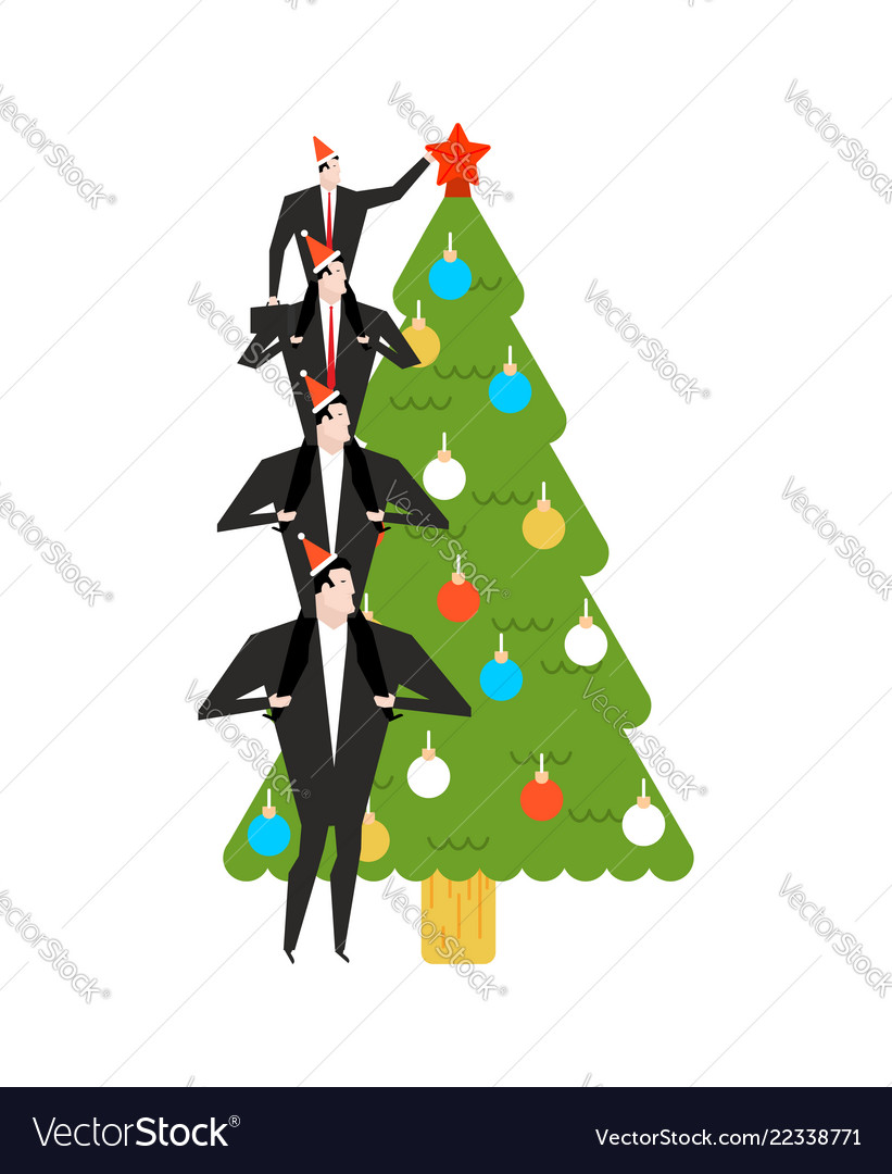 New year corporate party businessman decorates