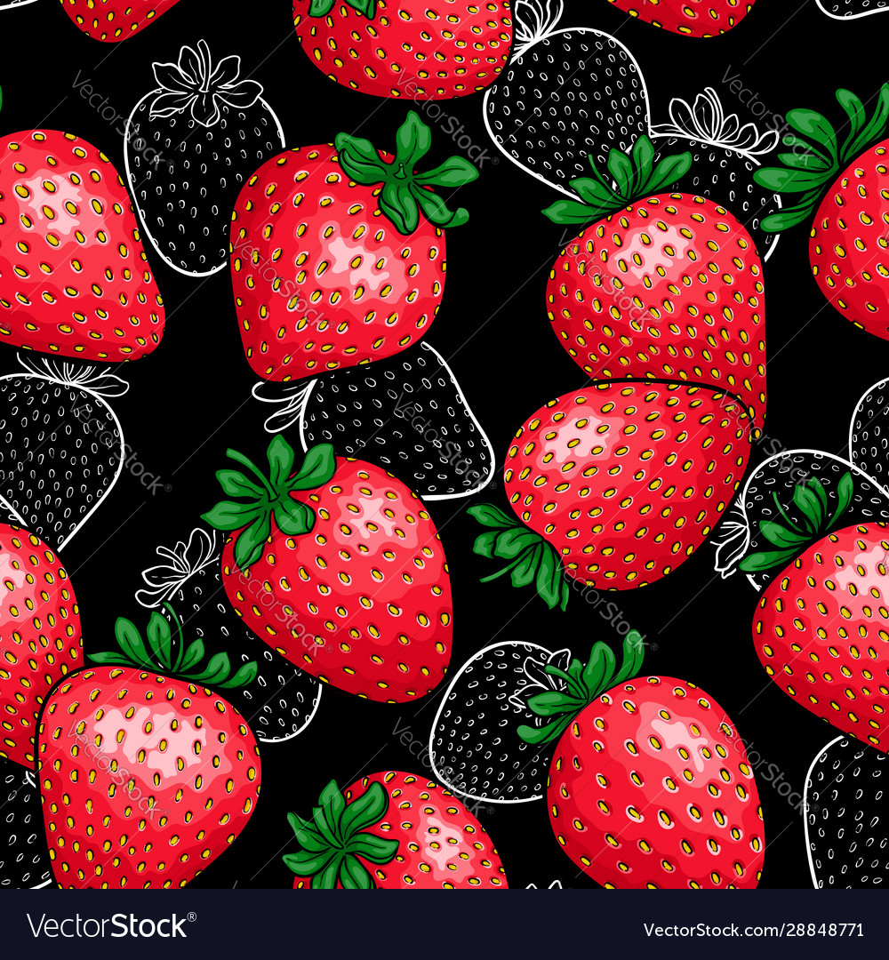 Seamless pattern red strawberry with black and