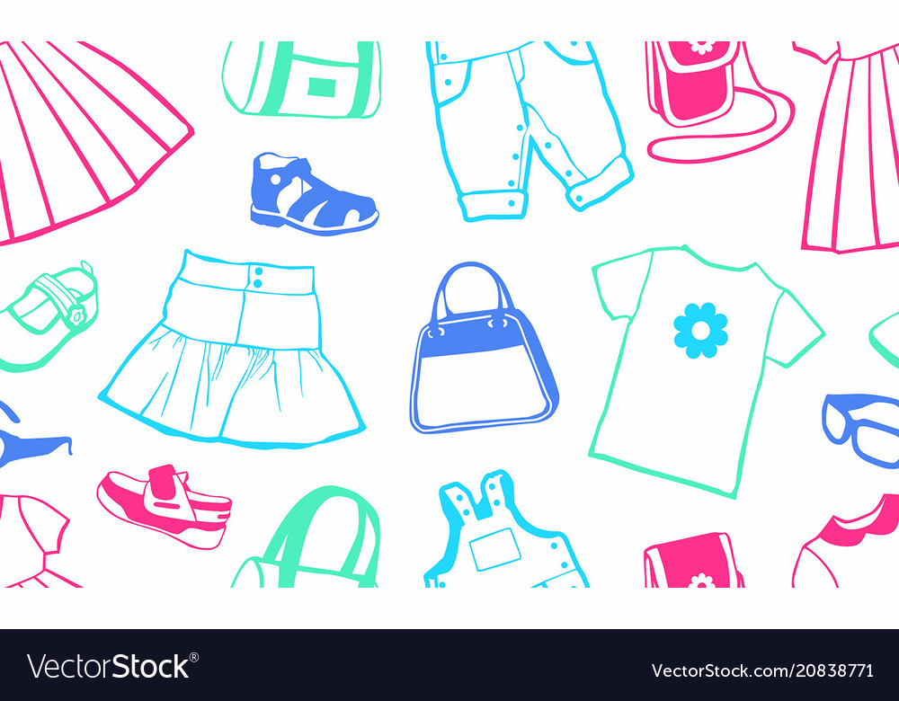 Seamless pattern with female clothing
