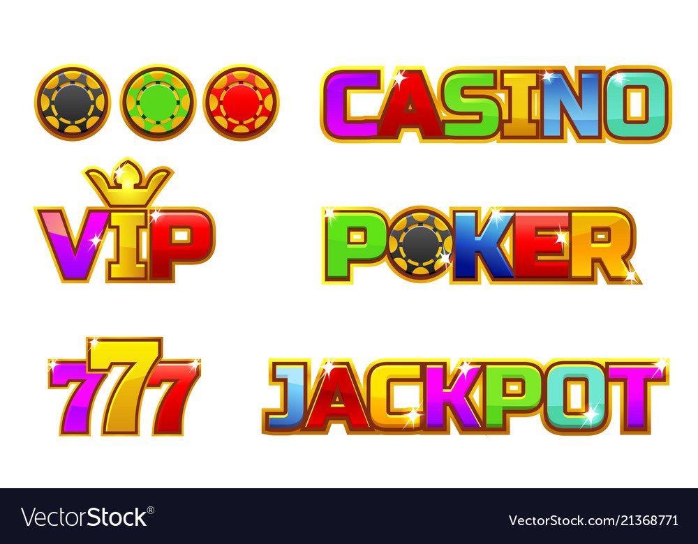 Set colorful logo jackpot poker 777