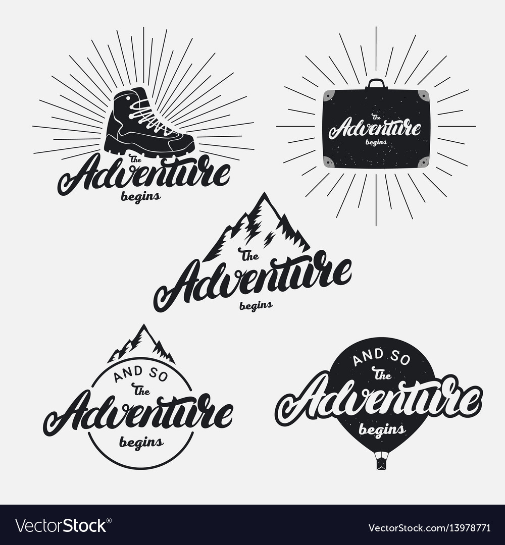Set of the adventure begins hand written lettering