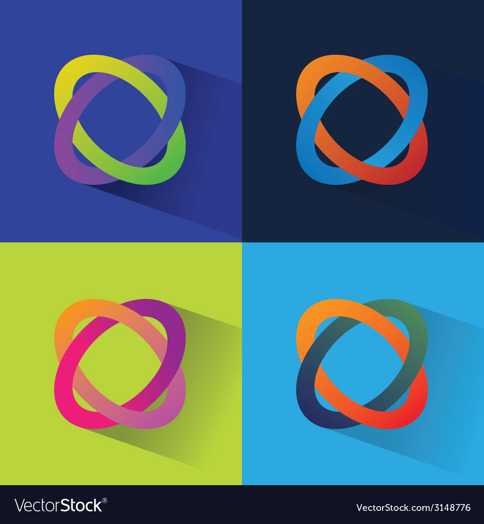 Abstract flat icos set isolated on color