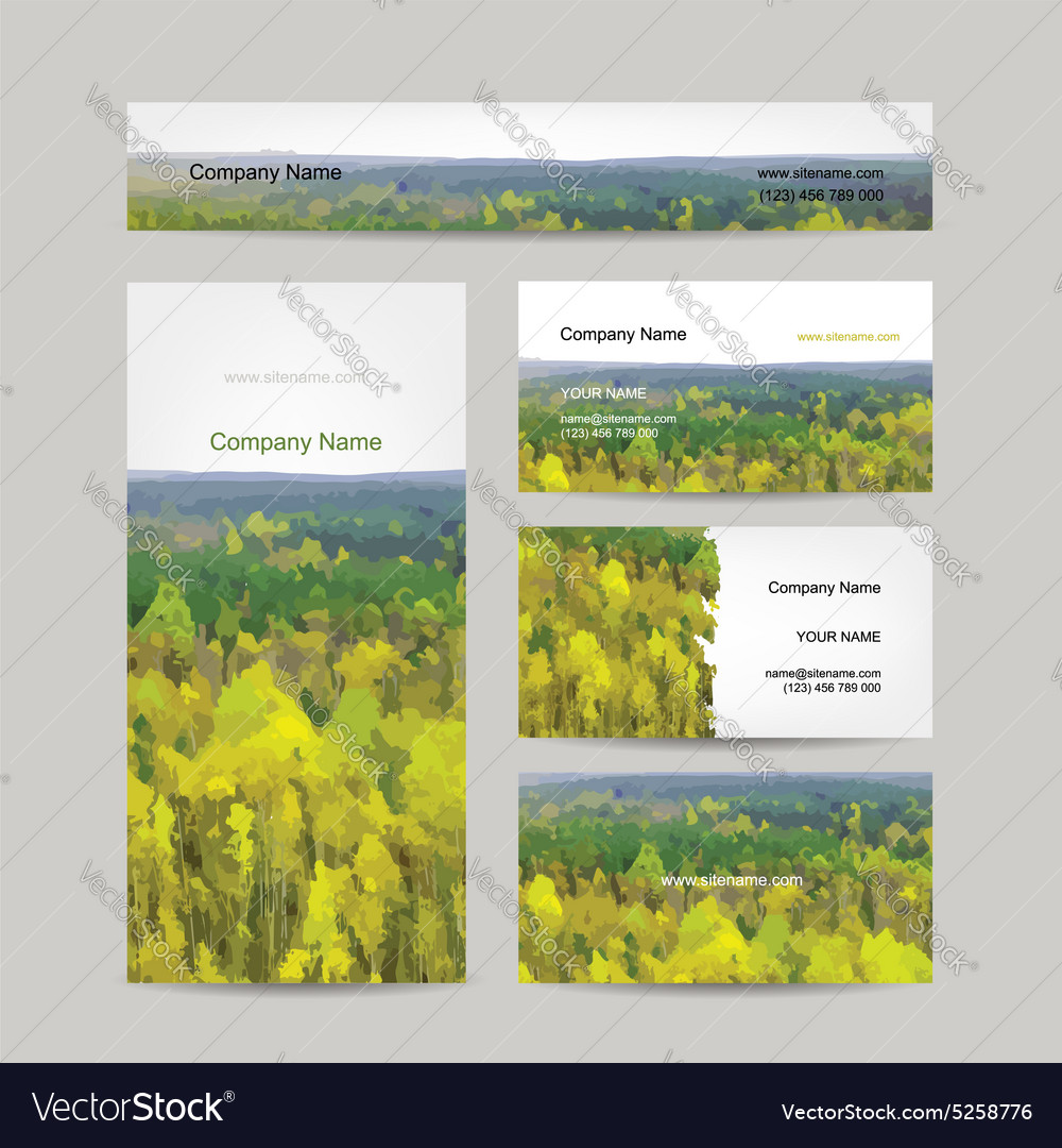 Business cards design autumn forest background