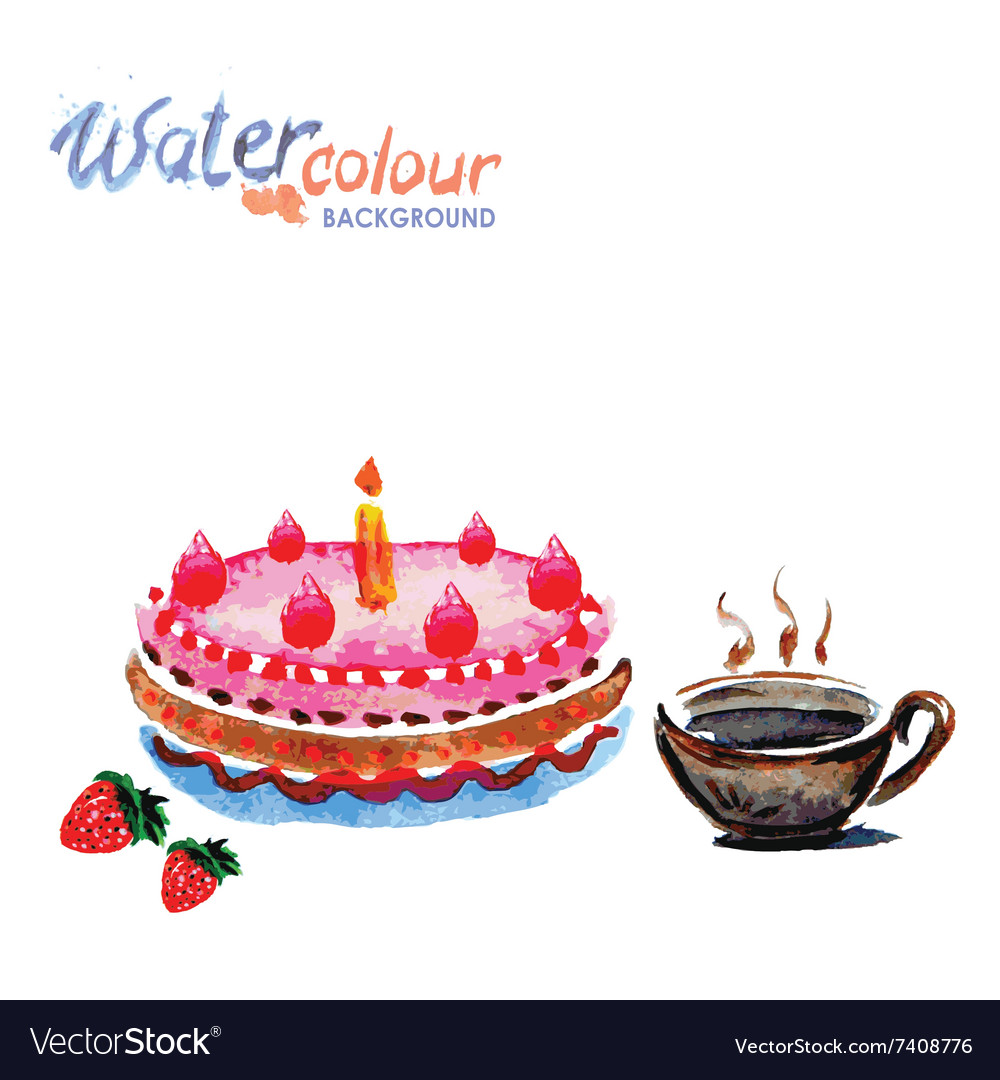 Cake and tea cup white background with space for vector image