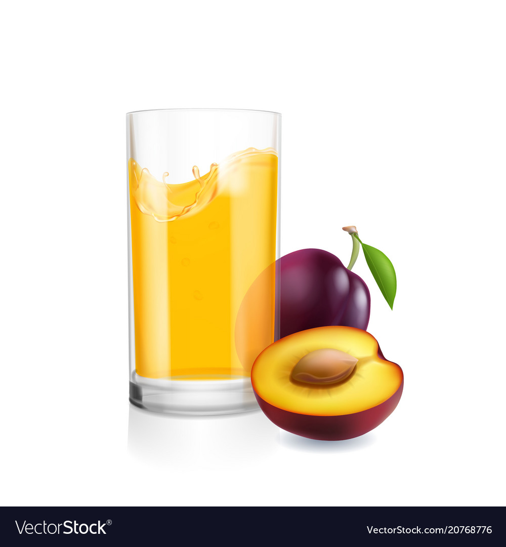 Glass of juice and plums realistic isolated