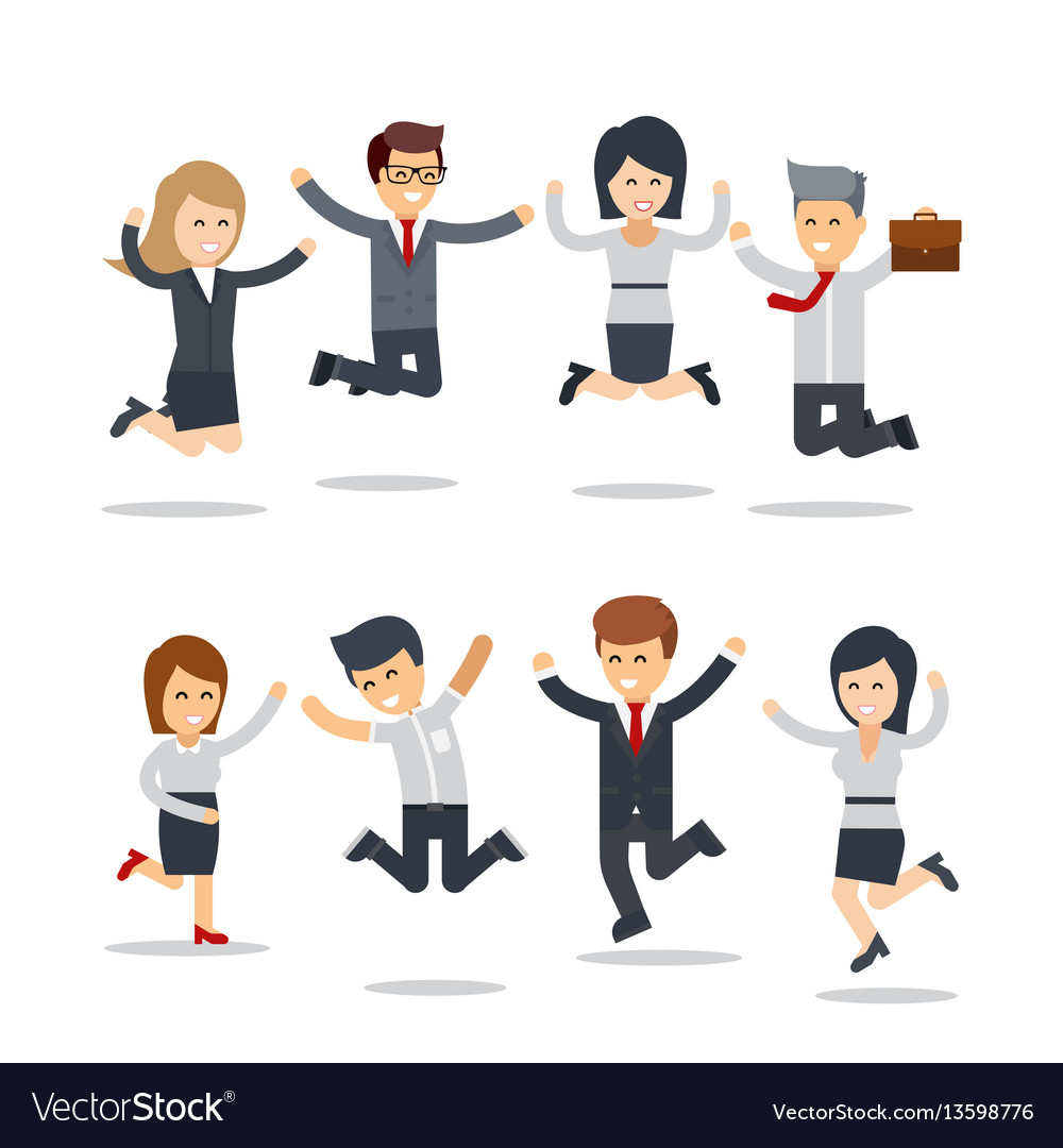 Happy business people jumping team workgroup of