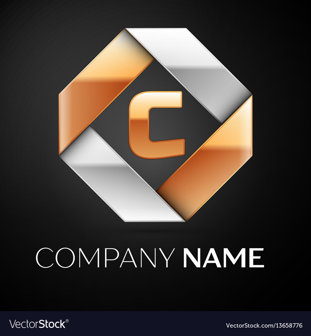 Letter c logo symbol in the colorful rhombus on