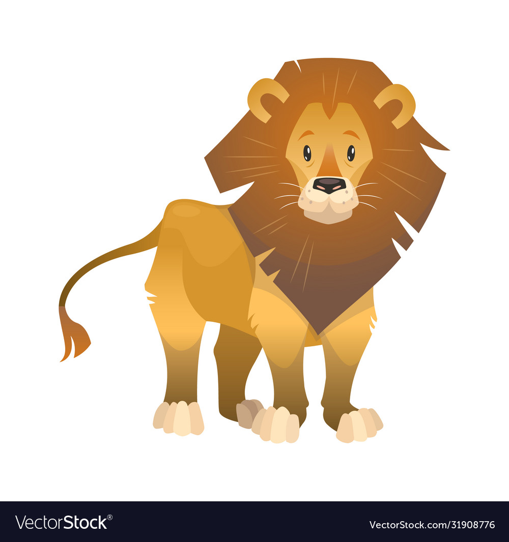 Lion cartoon wild animal nature african