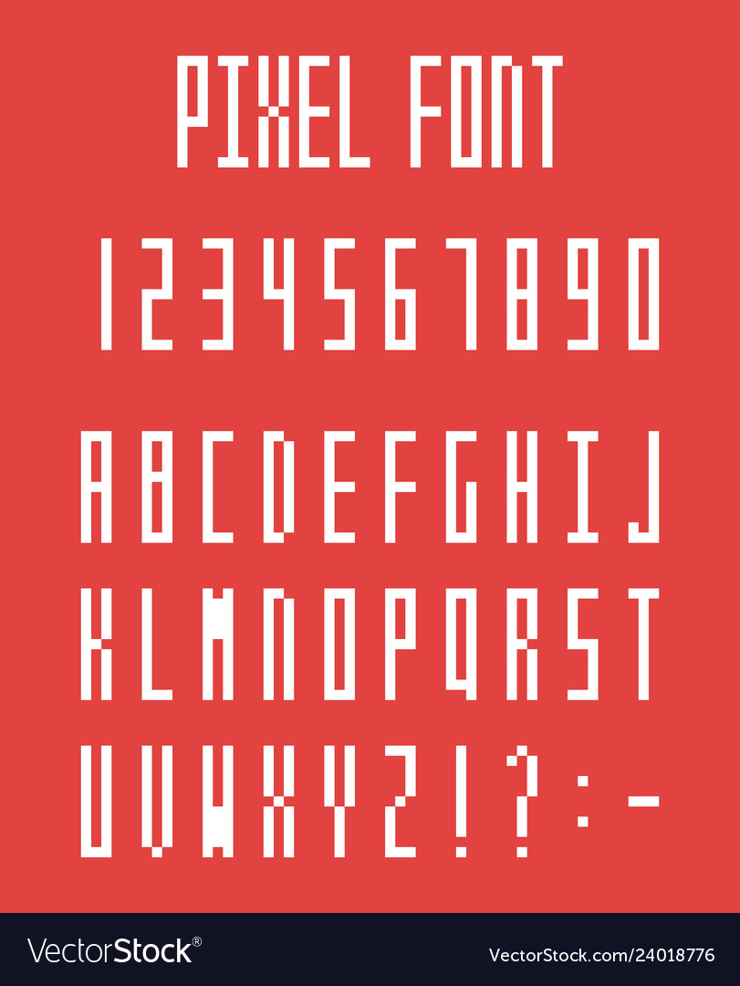 Pixel font pixeled alphabet letters and numbers vector
