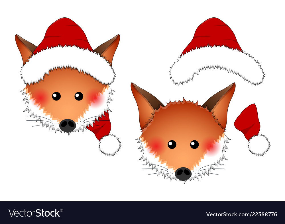 Red fox santa claus isolated on white background