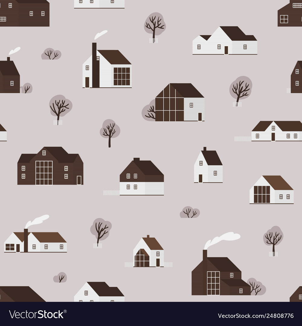 Seamless pattern with wooden living houses or