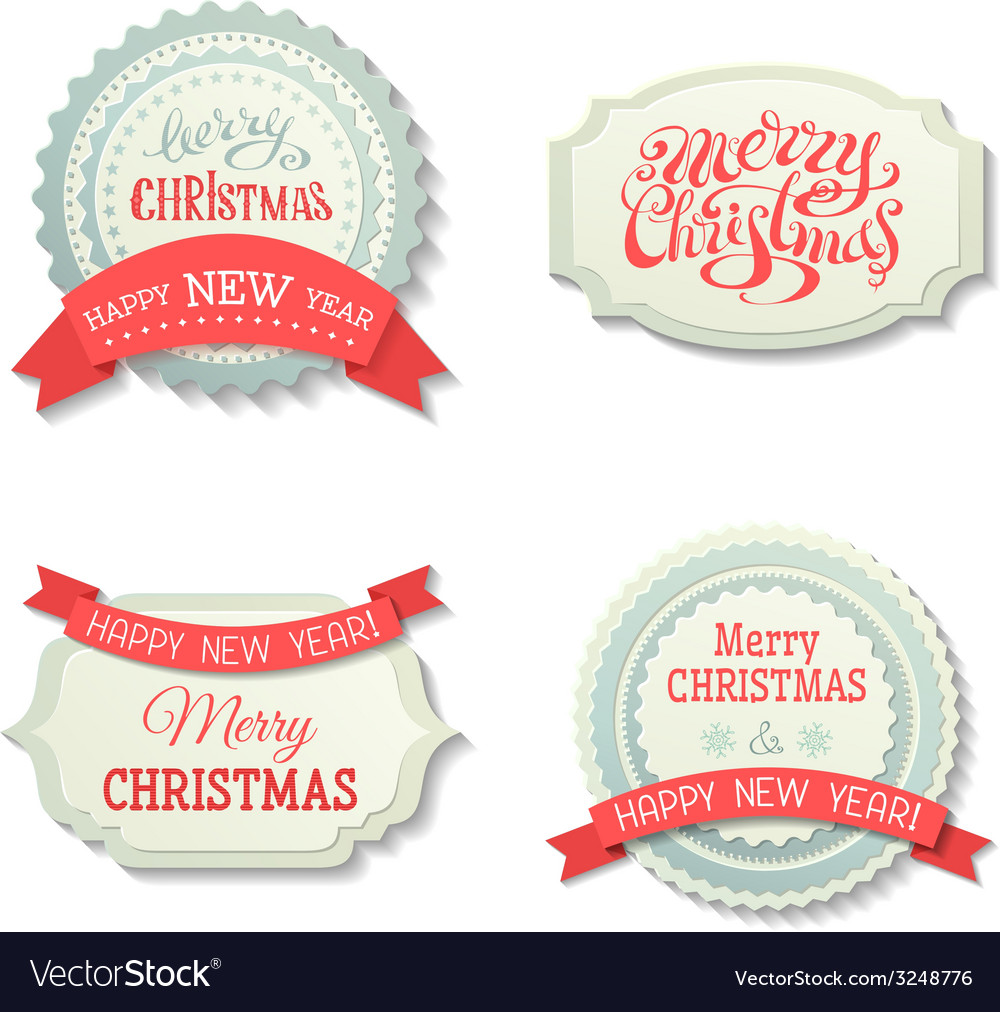 Set of Christmas badges and labels