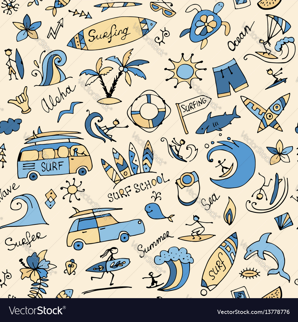 Surfing seamless pattern sketch for your design