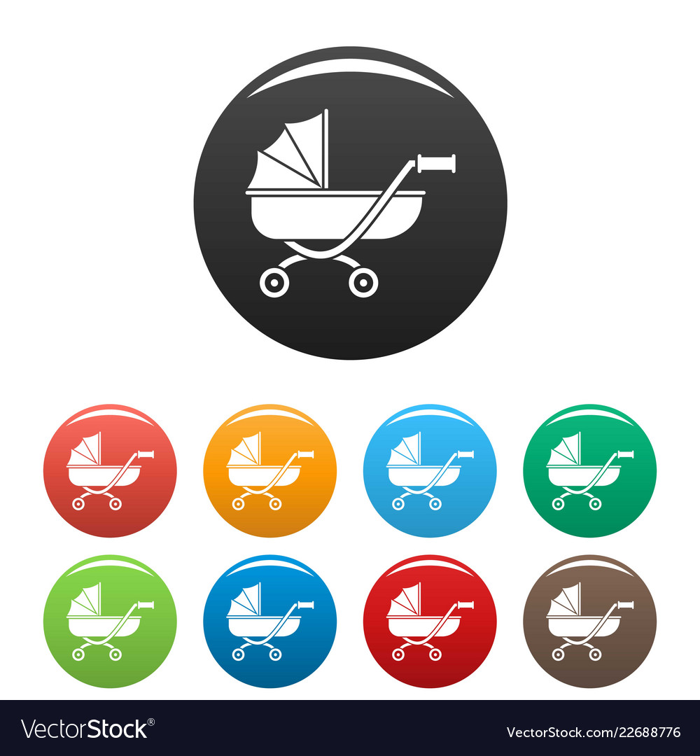 Toy baby pram icons set color