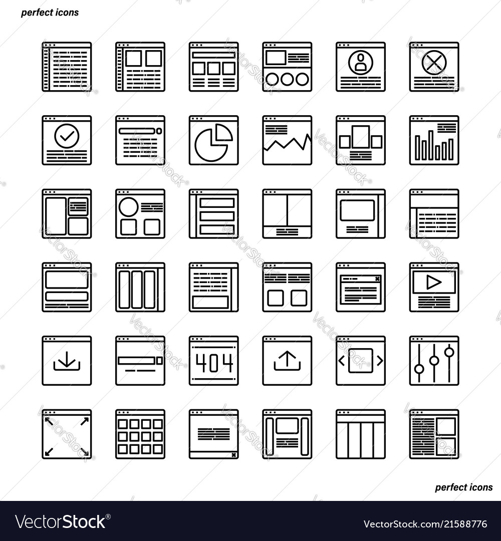 Website user interface outline icons perfect pixel