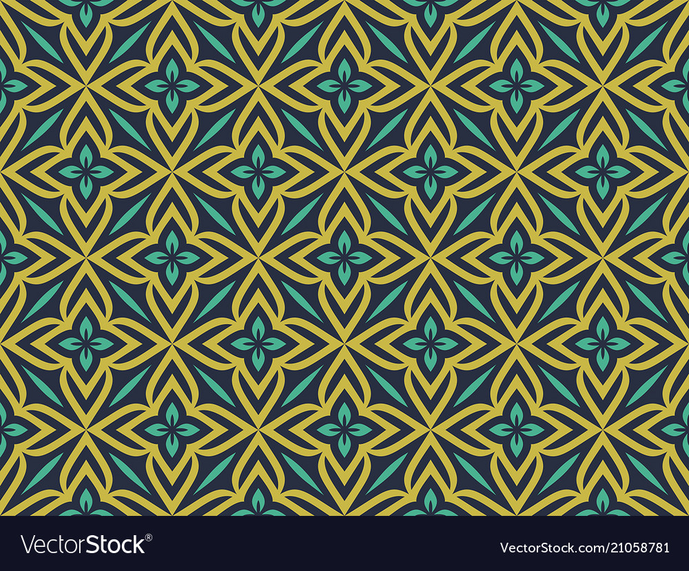 Abstract geometric pattern with florals