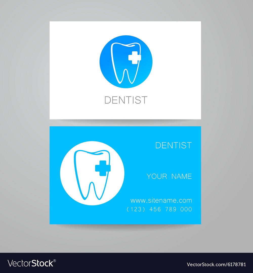 Dental clinic logo business card template vector image accmission