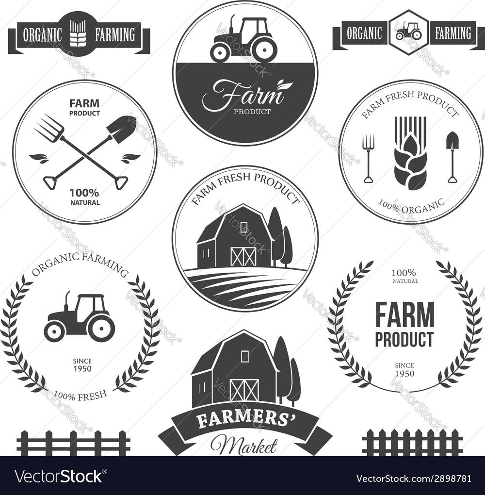 Farm labels 2 vector image