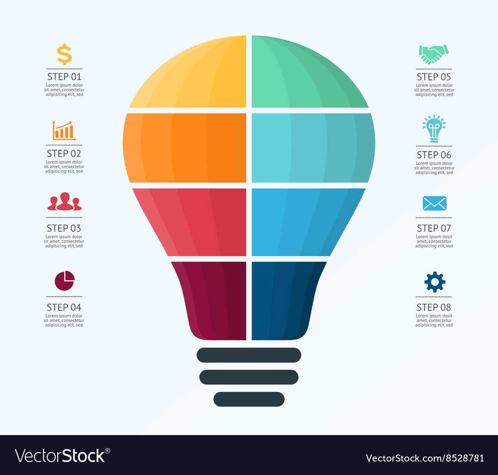 Light Bulb Infographic Template For Air Royalty Free Vector