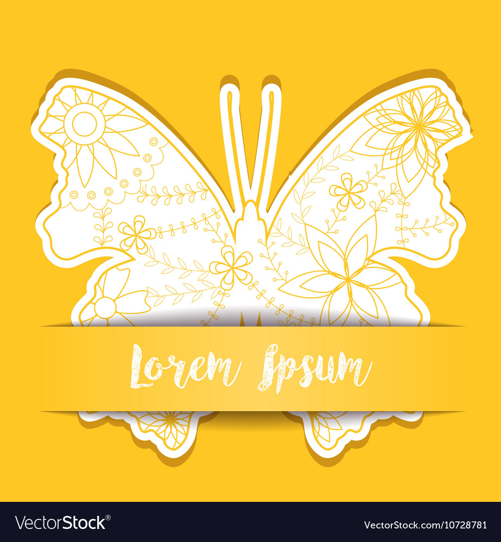 Paper background with butterfly vector image