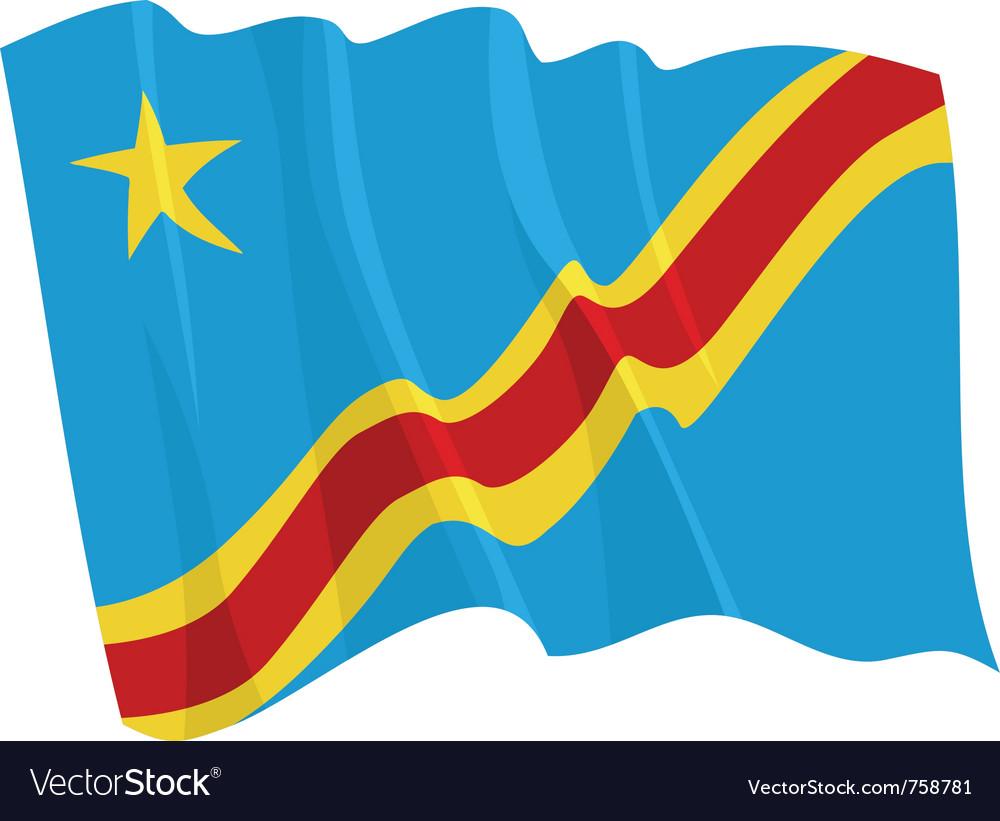 Political waving flag of congo vector image