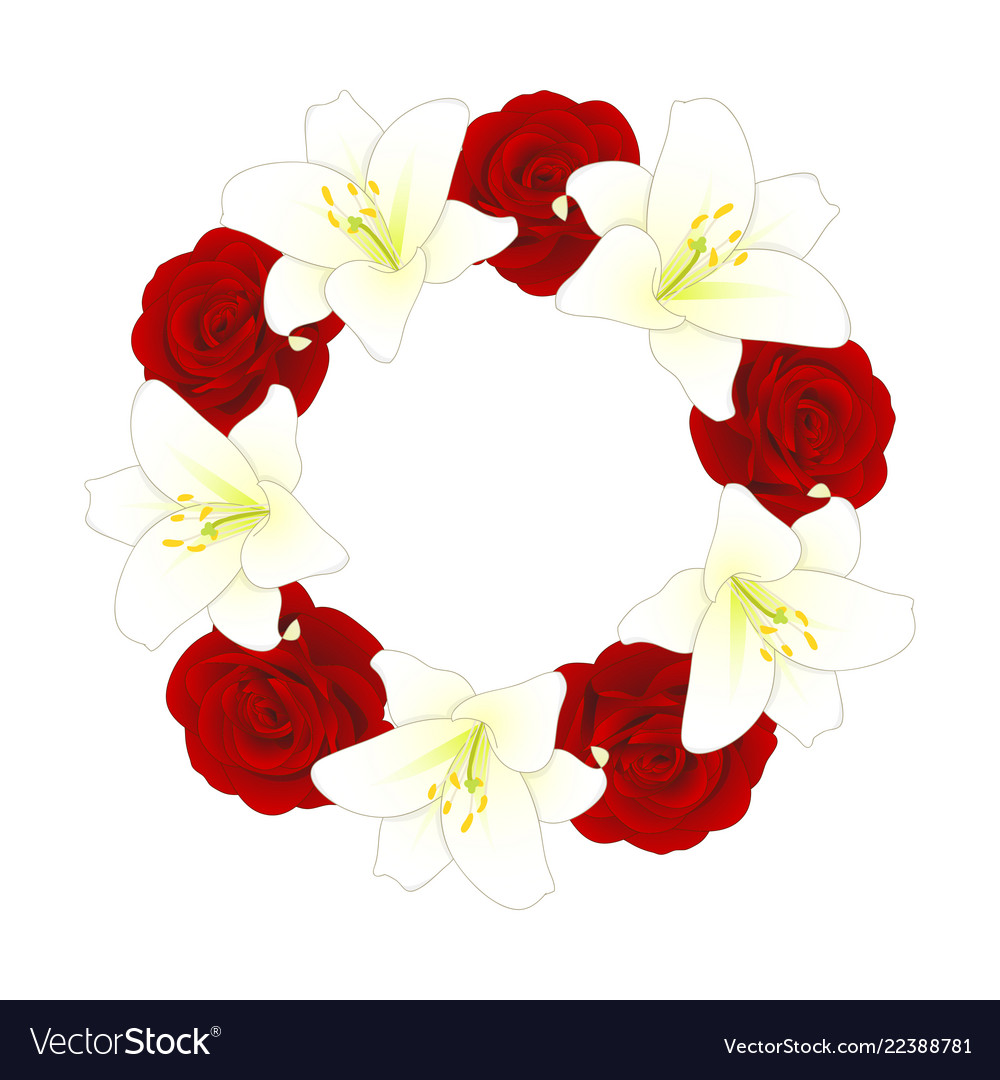 Red Rose And White Lily Flower Christmas Wreath Vector Image