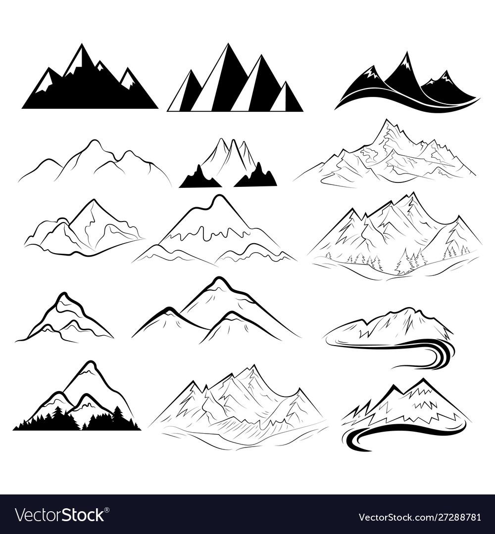 Set mountains collection stylized mountain