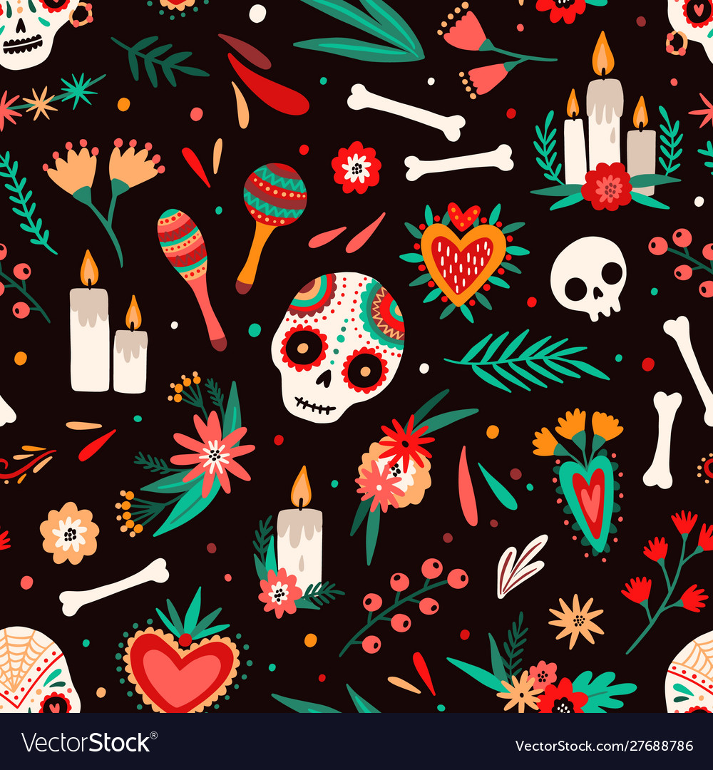 Day dead seamless pattern decorated sugar