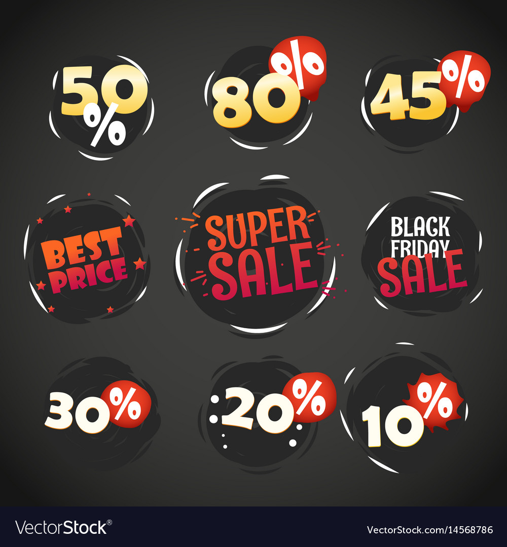 Different shopping labels sale tags