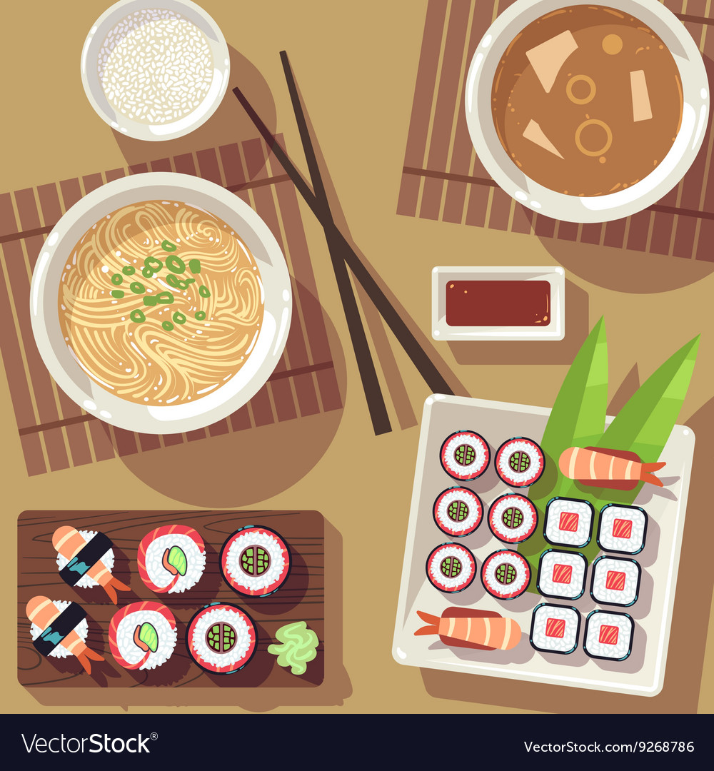 Dining table with japanese food top view Vector Image