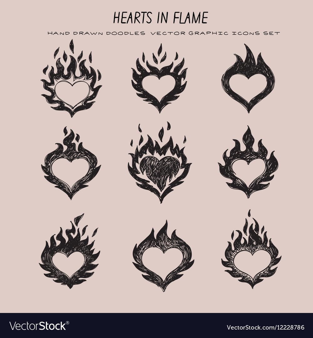 Fired heart vector image