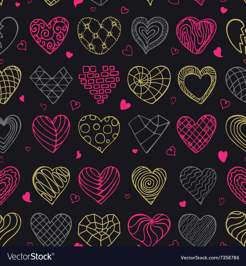 Hand drawing hearts doodle seamless pattern