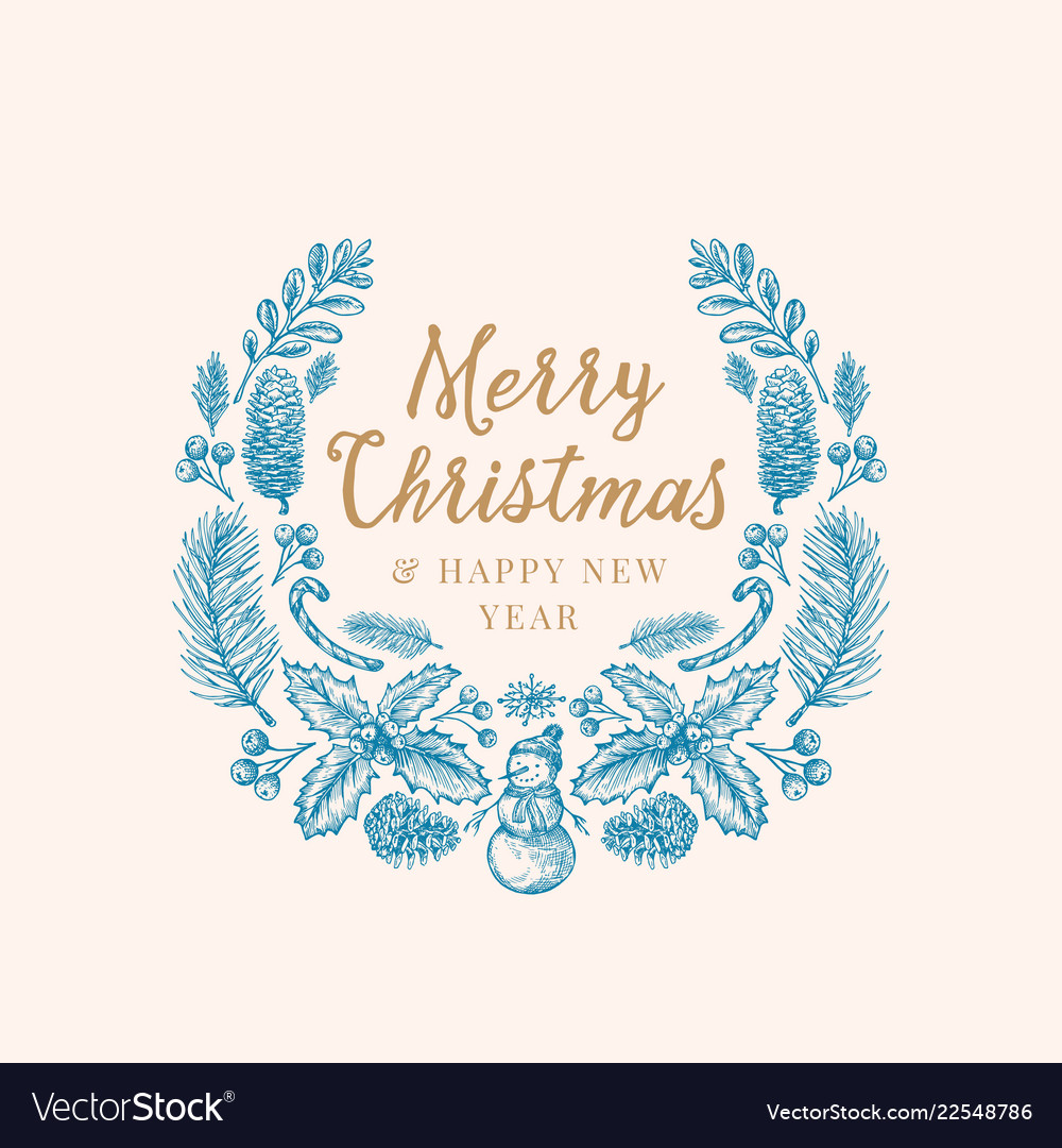 Hand drawn christmas greetings sketch wreath