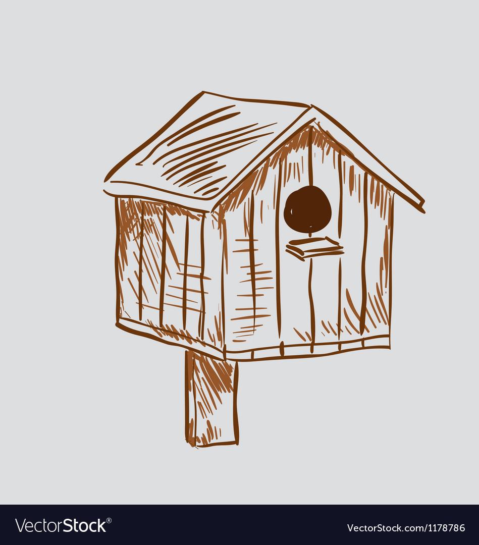 Nest box birdhouse vector image