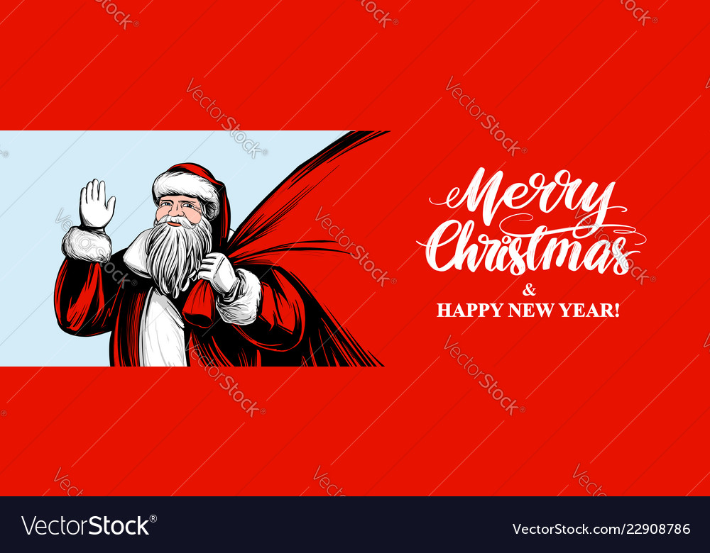 Santa claus is holding a big bag christmas symbol